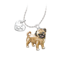 Pug Dog Pendant Necklace with Movable Legs and Tail