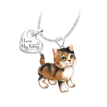 Calico Kitty Diamond Pendant Necklace: Legs and Tail Move
