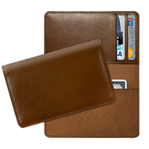 Cognac Leather Debit and Credit Card Holder