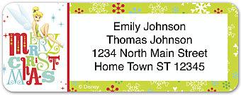 Disney Tinkerbell Holiday Return Address Label