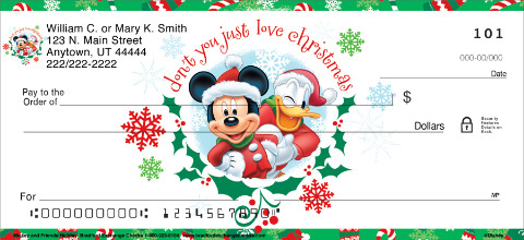 Disney Mickey & Friends Holiday Personal Checks