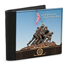 Defend Your Freedom and Your Identity with the U.S. Marines War Memorial Leather-Accented Wallet