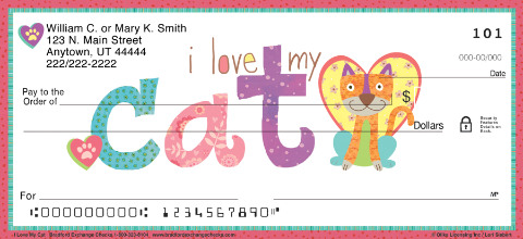 I Love My Cat Personal Checks