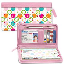 Polka Dot Zippered Wallet Checkbook Cover