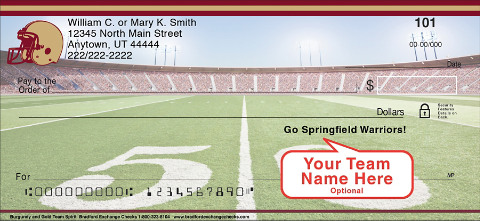 Burgundy & Gold Team Spirit Personal Checks
