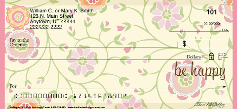 Be Happy Personal Checks, Uplifting Checks, Floral Checks