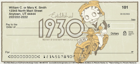 Betty Boop Motorcycle Club Personal Checks