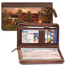 Farm and Tractors Zippered Wallet Checkbook Cover