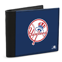 Show Your Yankees™ Loyalty and Keep Cards Safe with this Leather-Accented RFID Wallet!