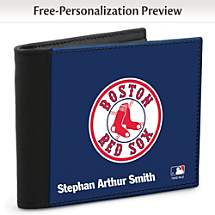 Show Your Red Sox™ Loyalty and Keep Cards Safe with this Leather-Accented RFID Wallet!