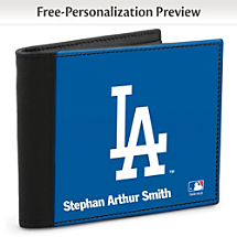Show Your Dodgers™ Loyalty and Keep Cards Safe with this Leather-Accented RFID Wallet!