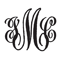 Antique Script Personalized Monogram Stamp