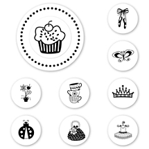 Tea and Cupcakes Peel & Stick Interchangeable Stamp Set