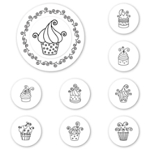 Cupcakes Peel & Stick Interchangeable Stamp Set