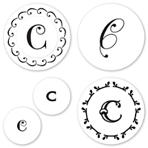 Monogram C Peel & Stick Interchangeable Stamp Set