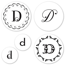 Monogram D Peel & Stick Interchangeable Stamp Set