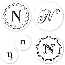 Monogram N Peel & Stick Interchangeable Stamp Set