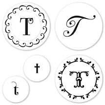 Monogram T Peel & Stick Interchangeable Stamp Set
