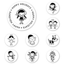 Smirk Happy Holidays Peel & Stick Interchangeable Stamp Set