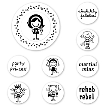 Smirk Party Girl Peel & Stick Interchangeable Stamp Set