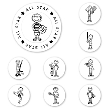 UBU Sports Guy Peel & Stick Interchangeable Stamp Set