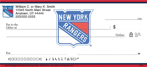 New York Rangers Logo Personal Checks