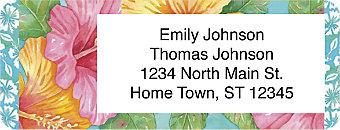 Hibiscus Return Address Label