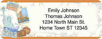 Retro Travel Return Address Label