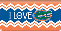 I Love Gators Chevron Checkbook Cover