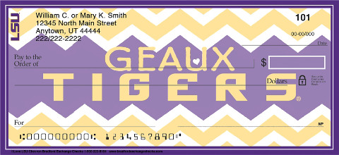 I Love LSU Chevron Personal Checks