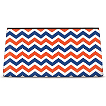 Blue and Orange Chevron Cosmetic Bag