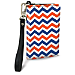 Blue and Orange Chevron Small Wristlet Purse