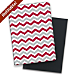 Red and Gray Chevron Premium Fabric Refillable Journal