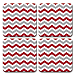 Red and Gray Chevron Coaster Set