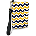 Blue and Gold Chevron Small Wristlet Purse
