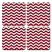 Red and White Chevron Coaster Set