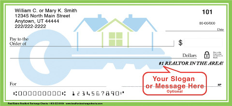 Real Estate Themed Checks Exclusively Designed with Space for a Personalized Message