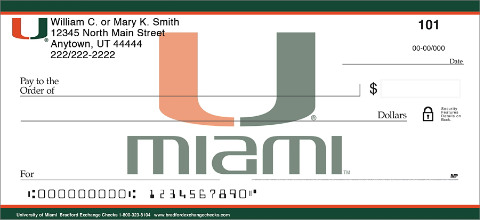 University of Miami® Checks Keep that Legendary Canes® Spirit Alive in Your Heart!