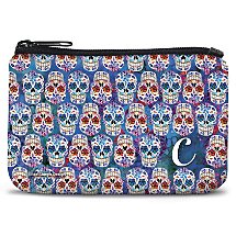 Personalized Coin Purse with an Authentic Mexican Dia de los Muertos Design`