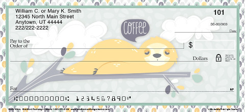 Take Your Time in Appreciating The Cuteness of Sloths with These Fun Personal Check Designs