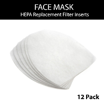 Adult sized Fabric Face Mask HEPA Replacement Filter Inserts