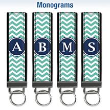 Chevron Chic Monogram Wristlet Keychains